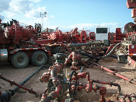 Halliburton fracturing operation in the Bakken Formation, North Dakota, United States Halliburton Frack Job in the Bakken.JPG