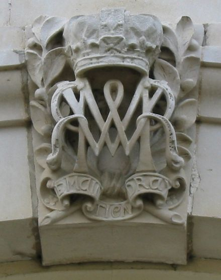 Joint monogram of William and Mary carved onto Hampton Court Palace Hampton Court Avri 2009 46.jpg