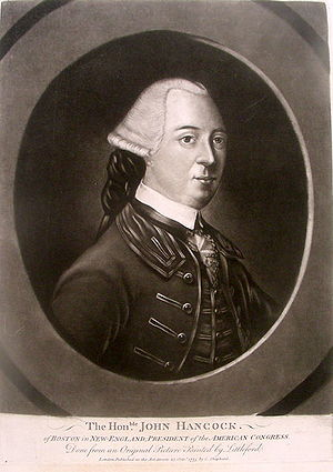 Mezzotint engraving of John Hancock, first pub...