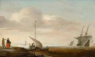 A river scene with ships