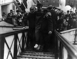 Harold Bride - Bride being carried up the ramp of a ship
