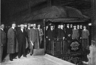 Harris, Forbes & Co. - Officers and employees of Harris, Forbes in Grand Central Terminal on their way to celebrate the opening of the firm's new offices in 1911