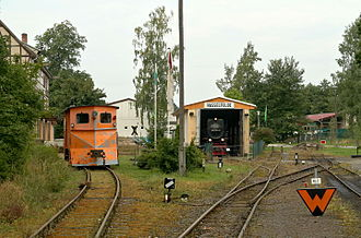 Selke Valley Railway - Historical Hasselfelde locomotive shed with old rolling stock