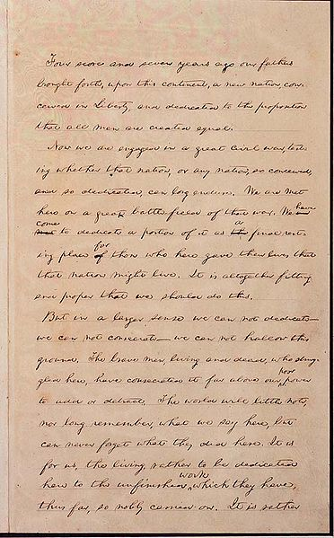 The Hay copy, with Lincoln's handwritten corrections. Image from http://en.wikipedia.org/wiki/File:Haycopy-1.jpg