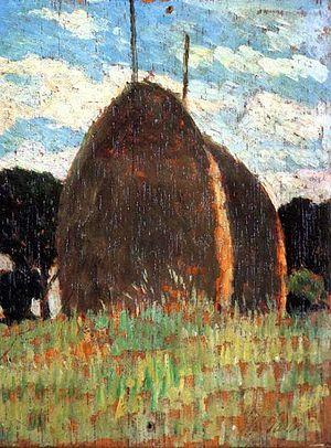 Macchiaioli - Hay Stacks by Giovanni Fattori, a leading artist in the Macchiaioli movement