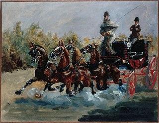 <i>Count Alphonse de Toulouse-Lautrec Driving His Mail-Coach</i> Painting by Henri de Toulouse-Lautrec