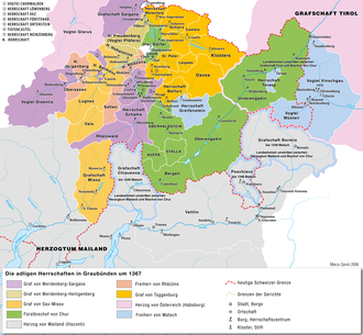 Three Leagues - Graubünden in 1367, showing the pre-existing lordships in the region