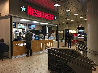 Hesburger - A modern Hesburger restaurant at University of Helsinki metro station.