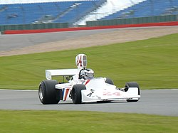 Hunt's Hesketh 308 from 1975 being driven by his son, Freddie, in 2007.