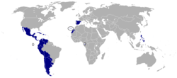 A cylindrical projection of the world, highlighting the member states of la Hispanidad (dark blue)