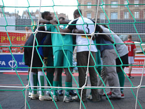 Homeless World Cup - Players huddle during the Homeless World Cup 2007 in Copenhagen