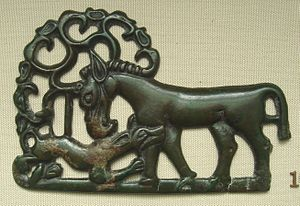 Ordos culture - Horse attacked by tiger, Ordos, 4th-1st century BCE