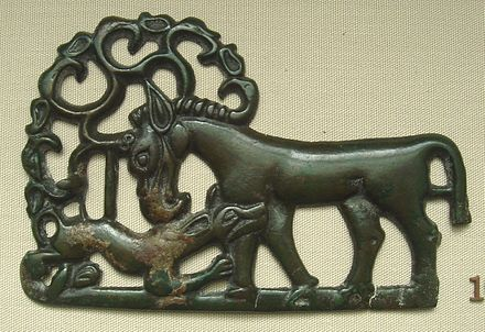 Bronze Ordos culture plaque, 4th century BC; a horse attacked by a tiger HorseAttackedByTigerOrdos4th-1stBCE.JPG