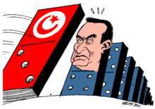 The cartoon depicts Egyptian President Hosni Mubarak as the next to fall after the Tunisian revolution forced President Zine El Abidine Ben Ali to flee the country.