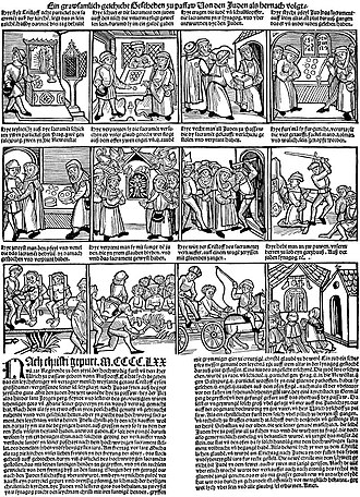Host desecration - From a 15th-century German woodcut of the host desecration by the Jews of Passau, 1477. The hosts are stolen and sold to the Jewish community, who pierce them in a ritual. When guards come to question the Jews, they (the Jews) attempt to burn the Hosts, but are unsuccessful, as the Hosts transform into an infant carried by angels.  The Jews, now proven guilty, are arrested, beheaded, and tortured with hot pincers, the entire community is driven out with their feet bound and held to the fire, and the Christian who sold the hosts to the Jews is punished. At the end the Christians kneel and pray.