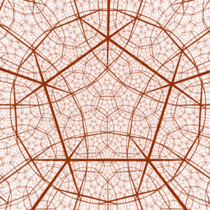 Hyperbolic manifold - A perspective projection of a dodecahedral tessellation in H<sup>3</sup>. This is an example of what an observer might see inside a hyperbolic 3-manifold.