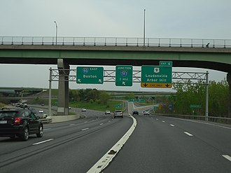 Interstate 90 in New York - The stack interchange between I-90 and US 9 in Albany as seen from I-90 eastbound