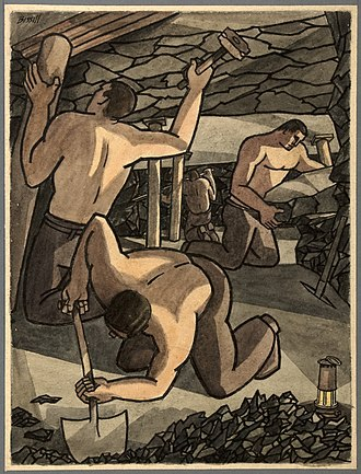 George Bissill - Poster by Bissill commissioned for the Ministry of Information during the Second World War of coal miners at work.