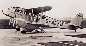 Isle of Man Air Services - Isle of Man Air Services DH.89 Dragon Rapide at Manchester (Ringway) Airport in 1939.
