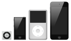 ... left to right: iPod Shuffle , iPod Nano , iPod Classic , iPod Touch