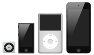 The iPod family with, from the left to the rig...