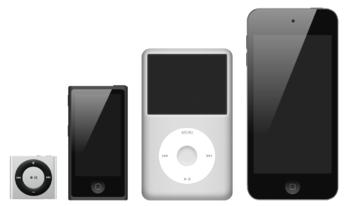 English: The iPod family with, from the left t...