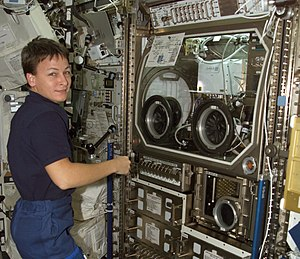 Peggy Whitson - Whitson working near the Microgravity Science Glovebox during Expedition 5