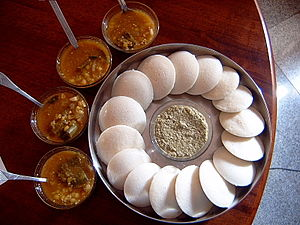 Yummy home-made idlis with chutney and sambar!...