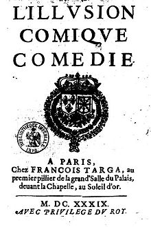 Couverture de l'édition de 1639 de L'Illusion comique de Corneille