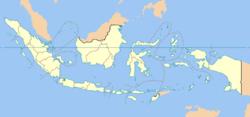 Carte de l'Indonésie mettant en évidence Jakarta (en vert clair)