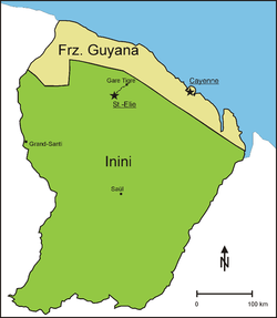 Inini (green) and French Guiana (beige).