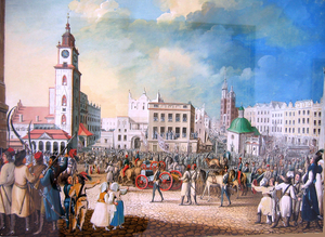 1794 in Poland - Introduction to Kraków of 12 Russian cannons captured in the Battle of Racławice in 1794. Painting by Michał Stachowicz