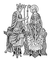A medieval king investing a bishop with the symbols of office. From Mediaeval and Modern History by Philip Van Ness Myers, 1905