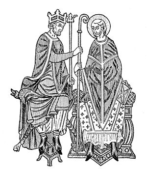John of Tours - A woodcut illustration of Investiture, or the ceremonial granting of the symbols of an ecclesiastical office, by a king. From Mediaeval and Modern History by Philip Van Ness Myers, 1905.