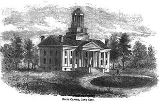 Iowa Old Capitol Building - Iowa Capitol in 1855.
