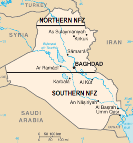De no-flyzones in Irak. De zone aangeduid met Southern NFZ is de zone van Operation Southern Watch.
