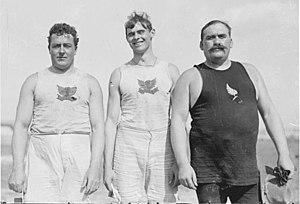Martin Sheridan - John Flanagan and Martin Sheridan of the Irish American Athletic Club, with fellow Irishman James Mitchell of the New York Athletic Club at the 1904 Olympic Games in St. Louis, Missouri.