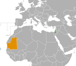 Map indicating locations of Israel and Mauritania
