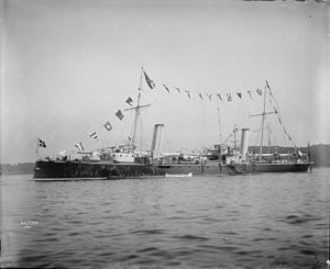 Italian cruiser Aretusa - Image: Italian torpedo cruiser Aretusa 1895 IWM Q 22386