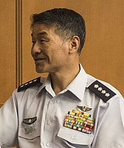 JASDF General Yoshinari Marumo 丸茂吉成空将 (US Air Force photo 180508-F-KG439-0304 PACAF commander highlights strategic importance of region).jpg