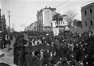 Lisbon Synagogue - The procession for Teofilo Braga passing the site of the synagogue on Rua Alexandre Herculano