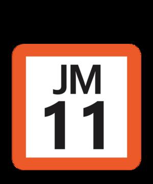 Funabashihōten Station - Image: JR JM 11 station number