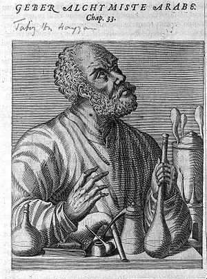 """Jabir ibn Hayyan - European depiction of """"Geber""""."""
