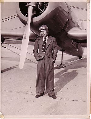 Jim Mollison - Captain James A Mollison at Floyd Bennett Field, 23 October 1936 in front of his Bellanca Flash.