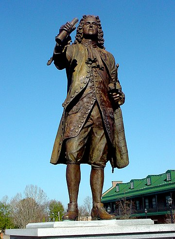 Statue of James Oglethorpe at the Augusta Common, an open space he personally designed when co-founding the city in 1735. James Oglethorpe Statue Augusta GA.jpg