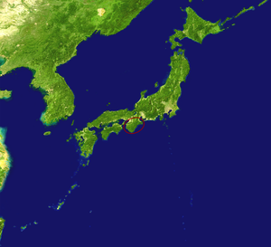 Satellite view of Japan with the Kii Peninsula...