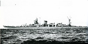 Japanese light cruiser Yahagi underway off Sasebo, Japan, in December 1943.jpg