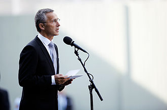 Jens Stoltenberg - Stoltenberg speaks at a service commemorating the one year anniversary of the 2011 attacks.
