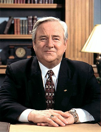 "Jerry Falwell, whose founding of the Moral Majority was a key step in the formation of the ""New Christian Right"" Jerry Falwell portrait.jpg"