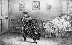 Helen Jewett - An illustration of the murder scene from a pamphlet. With hatchet in hand, Richard P. Robinson in on the left.